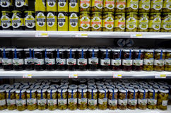 Olives displayed in supermarket Royalty Free Stock Photo