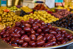 Olives shelves in Carmel Market Stock Photos