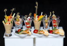 Olives with shrimp on skewers Royalty Free Stock Photos