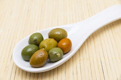 Olives in a spoon Royalty Free Stock Photo
