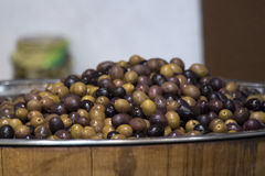 Olives on stand Royalty Free Stock Images