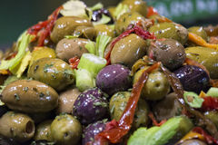 Olives on stand. Bazar display Stock Photo