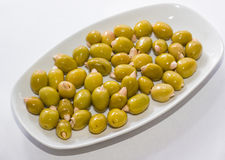 Olives stuffed with almonds Stock Photo