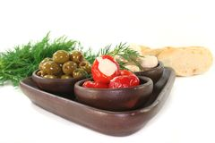 Olives, stuffed peppers and mushrooms Stock Photography