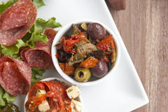 Olives And Sundried Tomatoes Stock Photography