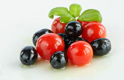 Olives and tomatoes Royalty Free Stock Image