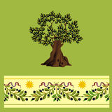 Olives  tree. Olives tree illustration and seamless border with olives branches. Vector illustration Stock Image