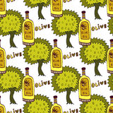 Olives trees and oil bottle seamless pattern. Vector doodle background Royalty Free Stock Images