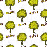 Olives trees seamless pattern. Vector doodle background Stock Photos