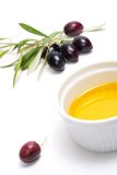 Olives twig and pure olive oil Royalty Free Stock Photos