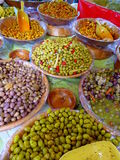 Variety of olives for sale Stock Photos