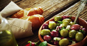 Olives and various ingredients stock video footage