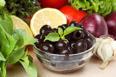 Olives and Vegetables. For salad Royalty Free Stock Photos