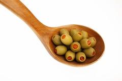 Olives vertes bourrées Photographie stock