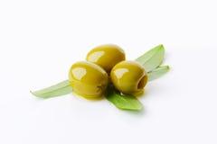 Olives vertes dénoyautées Photo libre de droits