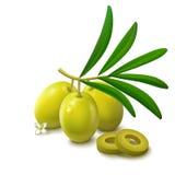 Olives vertes sur le fond blanc Photographie stock