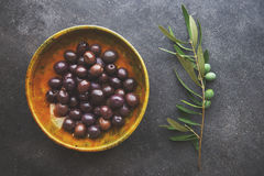 Olives in vintage plate Royalty Free Stock Photo