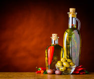 Olives with Virgin Olive Oil and Copy Space Stock Images