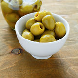Olives in a white bowl Royalty Free Stock Photo