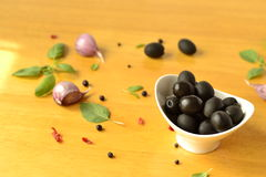 Olives in a white bowl Royalty Free Stock Images