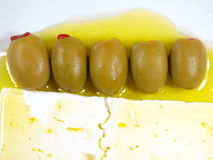 Olives and White Cheese. Olives White Cheese and olive oil stock images