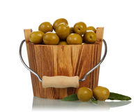 Olives in wooden bucket Royalty Free Stock Photo
