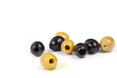 Olives,Yellow Olive, black olives, olives for the salad, olives in oil Royalty Free Stock Photo
