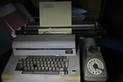 Olivetti & Old telephone Royalty Free Stock Image