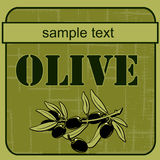 olivgrön för 3 etikett Fotografering för Bildbyråer