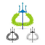 Olivgrön filial med treuddsymbol av grekisk gudposeidon Royaltyfri Bild