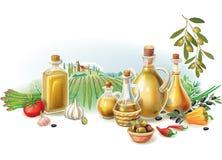 Olivgrön skörd mot landskap vektor illustrationer