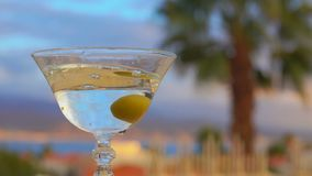 Olivgröna nedgångar in i ett exponeringsglas med martini lager videofilmer