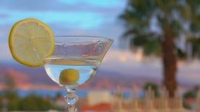 Olivgröna nedgångar in i ett exponeringsglas med martini arkivfilmer