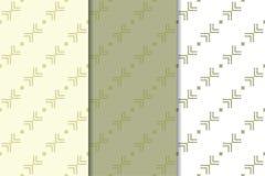 Olivgrün- und weißegeometrische Verzierungen Set nahtlose Muster Lizenzfreie Stockfotos