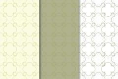 Olivgrün- und weißegeometrische Verzierungen Set nahtlose Muster Stockfotografie
