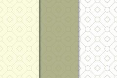 Olivgrün- und weißegeometrische Verzierungen Set nahtlose Muster Lizenzfreie Stockfotografie