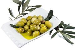 Olivgrüne Frucht und Blätter getränkt im Olivenöl Stockbild