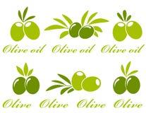 Olivgrüne Ikonen eingestellt lizenzfreie abbildung