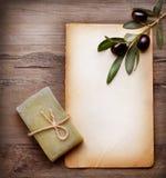 Olivgrüne Seife und unbelegtes Papier mit Ölzweig Lizenzfreies Stockfoto