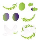 Olivgrüne Symbole Stockfoto