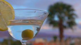 Olivgr?na nedg?ngar in i ett exponeringsglas med martini och citronen stock video