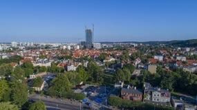 Olivia Biznesowy Centre - budynek, Polska, 07 2017, powietrze Zdjęcie Royalty Free