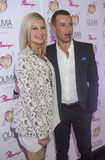 Olivia Newton-John - Summer Nights. LAS VEGAS, - APRIL 11: Entertainer Olivia Newton-John (L) and actor Joey Lawrence attends the grand opening of her residency Royalty Free Stock Photos