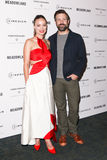 Olivia Wilde, Jason Sudeikis. NEW YORK-OCT 11: Actors Olivia Wilde (L) and Jason Sudeikis attend the premiere of 'Meadowland' at Sunshine Landmark on October 11 Stock Photos