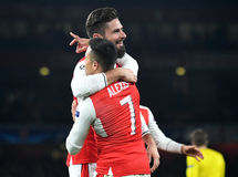 Olivier Giroud and Alexis Sanchez Royalty Free Stock Images