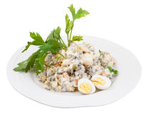 Olivier russian salad decorated with herb and eggs royalty free stock photos