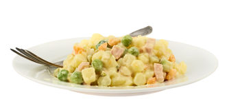 Olivier russian salad in a plate Royalty Free Stock Photo