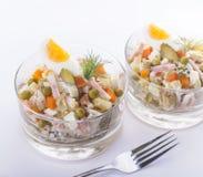 Olivier Russian-salade van het aardappel de nieuwe jaar Stock Afbeeldingen