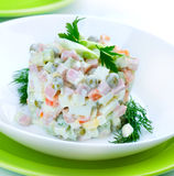 Olivier. Russian traditional salad Stock Photo