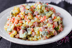 Olivier salad, Christmas food Stock Image